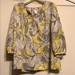 Yellow and Gray Floral Worthington Blouse
